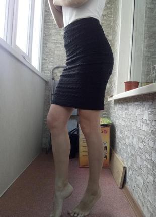 Фактурная юбка миди с высокой посадкой талией