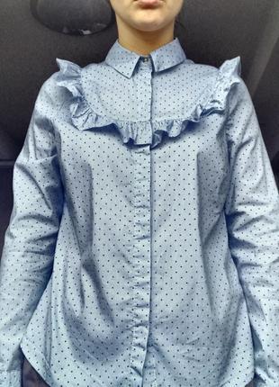 Голуба рубашка з рюшами в дрібний горох