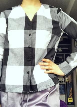 Рубашка в кліточку чорно-біла