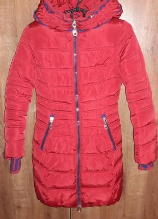 Пальто зимове для дівчинки black & red