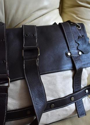 Bagatt – италия – мужская большая текстильная + кожаная сумка портфель - а4