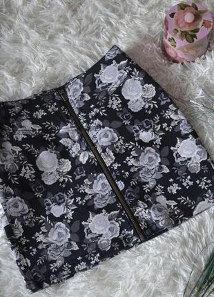 Юбка цветочная с молнией спереди h&m