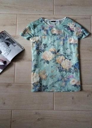 Нежная футболка в цветочный принт сеточка сетка  р. m l
