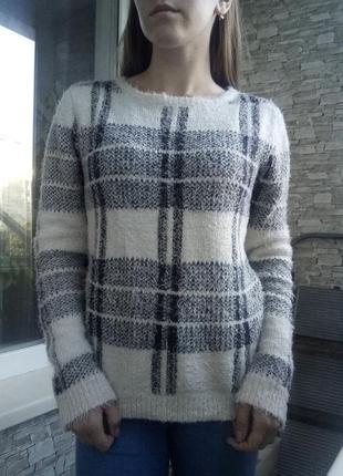 Теплый свитер кофта в полоску клетку new look