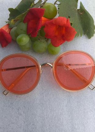 Новые модные очки круглые, оранжевые