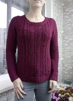 Теплый свитер кофта в косичку крупную вязку pimkie
