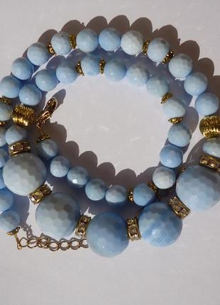 Комплект из голубого агата