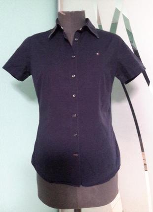 Приталенная рубашка с коротким рукавом