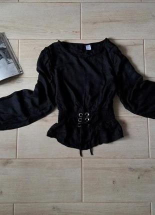 Трендовая блуза блузка кофта с корсетом переплетом спереди в полоску р. xs s