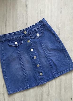 Актуальная джинсовая юбка на пуговках хит сезона denimco