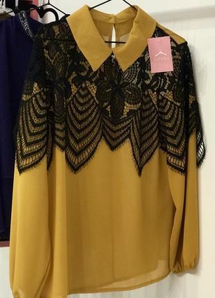 Стильна шифонова блуза з ажурними вставками, італія