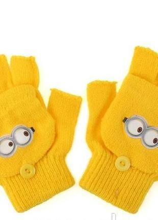 Перчатки-варежки для мальчиков деми  от disney миньоны