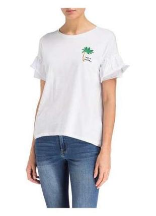 Marc aurel белая футболка с вышитой пальмой , рукава воланы , оверсайз м - размер