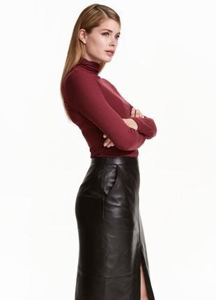 Кожаная юбка миди от h&m premium кожа