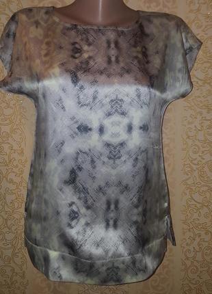 Шелковая блуза футболка в актуальный принт reiss р. xs-s