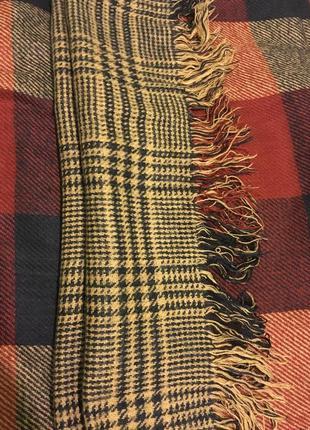 Стильный клетчатый тёплый шарф двухсторонний