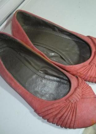 Туфли-балетки кожаные на низком ходу,24,5см