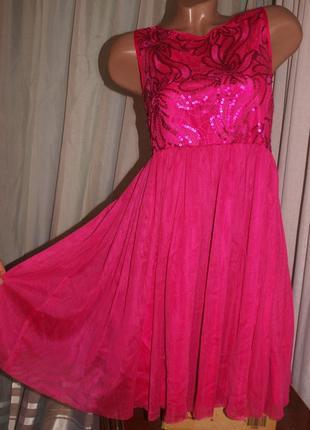 Нарядное яркое платье (11-13 лет замеры) юбка трьохслойная, с пайтеками.
