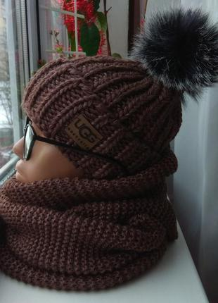 Новый комплект: шапка (на флисе) и хомут восьмерка, коричневый