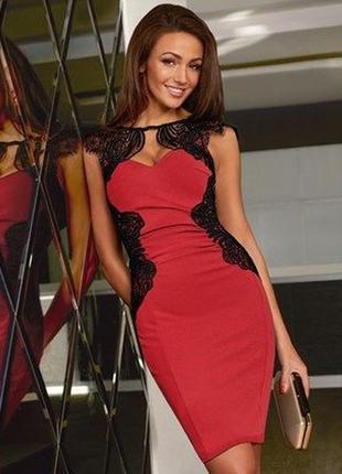 Облегающее платье lipsy michelle keegan красное черное кружевное