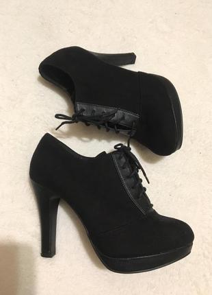 Туфли на шнуровке экозамш new look