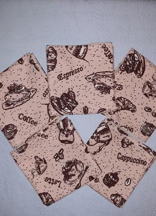 Вафельные кухонные полотенца 36х71 тортики и кофе