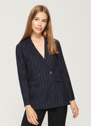 Пиджак все размеры жакет в полоску люрекс двубортный удлиненный