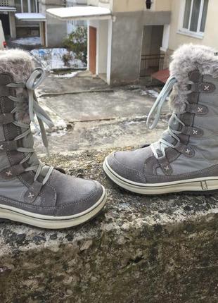 Оригинальные кожаные зимние тёплые ботинки snow polar tex, внутри мех