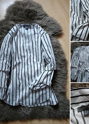 Блуза в черно белую полоску на запах и пышным рукавом от primark