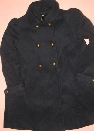 Пальто для девочки темно синего цвета рост 122, 26% шерсть