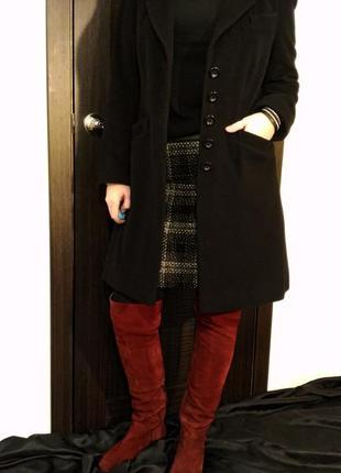 2636\220 черное шерстяное пальто m&s xl