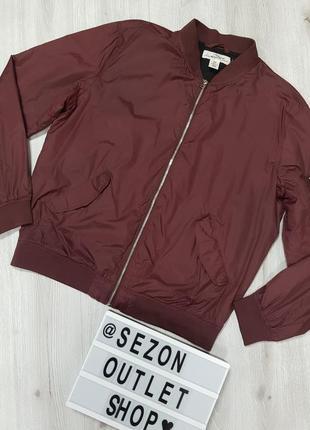 Нейлоновая бордовая куртка бомьер h&m xl