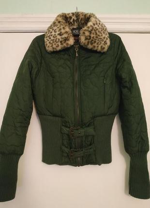 Пуховая стёганая куртка, бомбер с меховым воротом/xs/killah