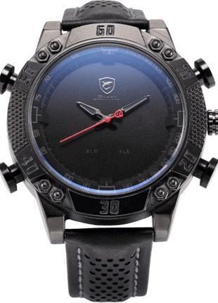 Оригинальные мужские часы shark с подсветкой и кожаным ремешком