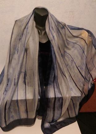 Натуральный шелк,огромный шарф,палантин нюанс,100*200см