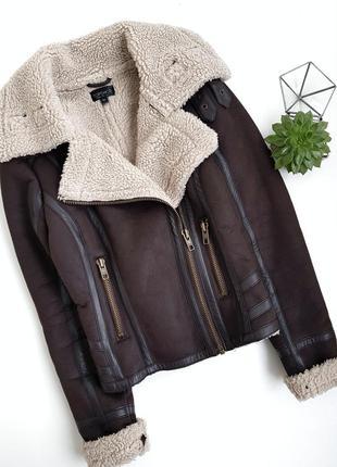 Идеальная темно-коричневая дубленка куртка косуха авиатор