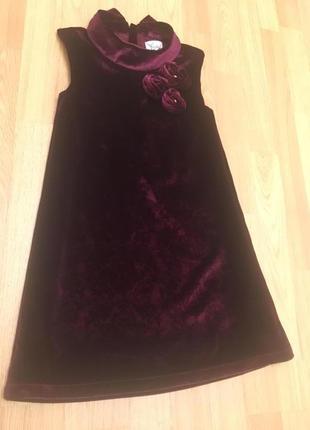 Бархатное нарядное платье yumi на 7-8 лет