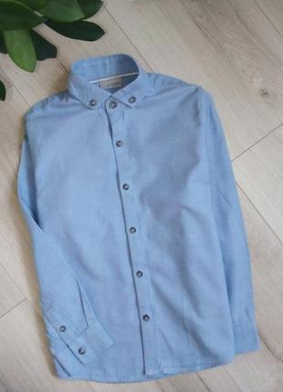 Элегантная рубашка с длинным рукавом из ткани добби