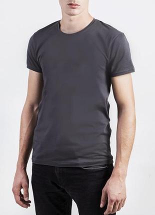 Однотонная футболка серая 100% коттон испания размеры