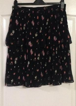 Двухслойная юбка плиссе в цветочек new look, новая!