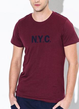 Бордовая футболка марсала nyc 100% коттон испания размеры