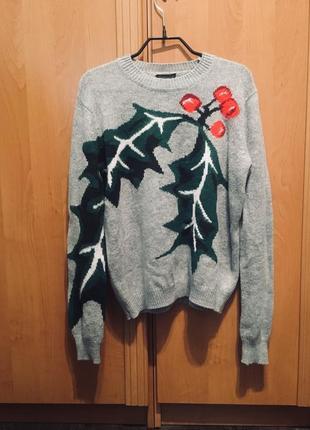 Серый милый свитер top shop
