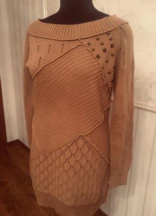 Удлиненный свитер с заклепками, размер 14-16 uk, наш 48-50.