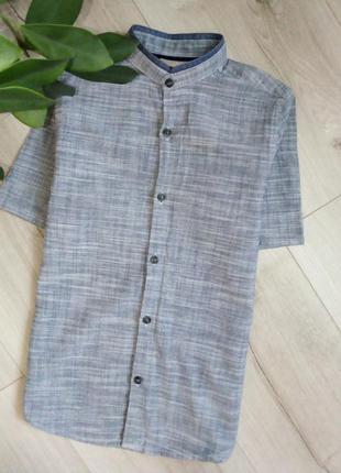 Стильная рубашка с воротником стоечкой«баттен-даун»