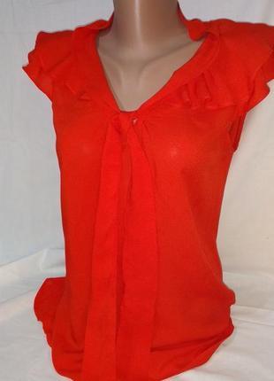 Блузка с рюшами алая коралловая