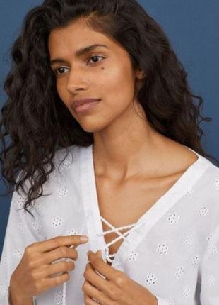 Білосніжна бавовняна блуза, h&m
