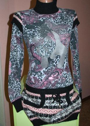 Платье-туника отличного качества с декором,не мнётся,зима,демисезон.