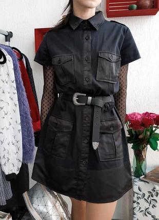 Джинсовое платье рубашка свободного кроя reflex на пуговицах с атласными вставками