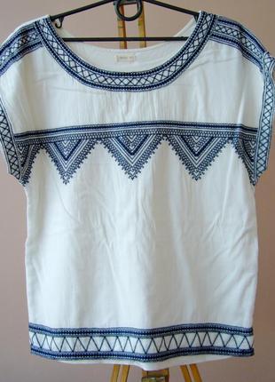 Хлопковая блузка, футболка oysho с вышивкой