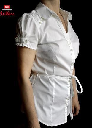 Блуза белая хлопковая с поясом с коротким рукавом нарядная с воротником